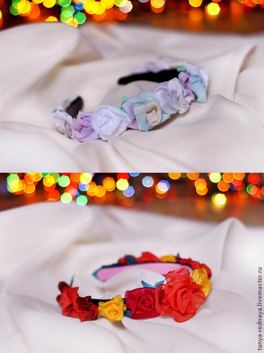 Комплекты аксессуаров ручной работы. Ярмарка Мастеров - ручная работа. Купить ободок цветочный для девушки. Handmade. Разноцветный, ободок для волос