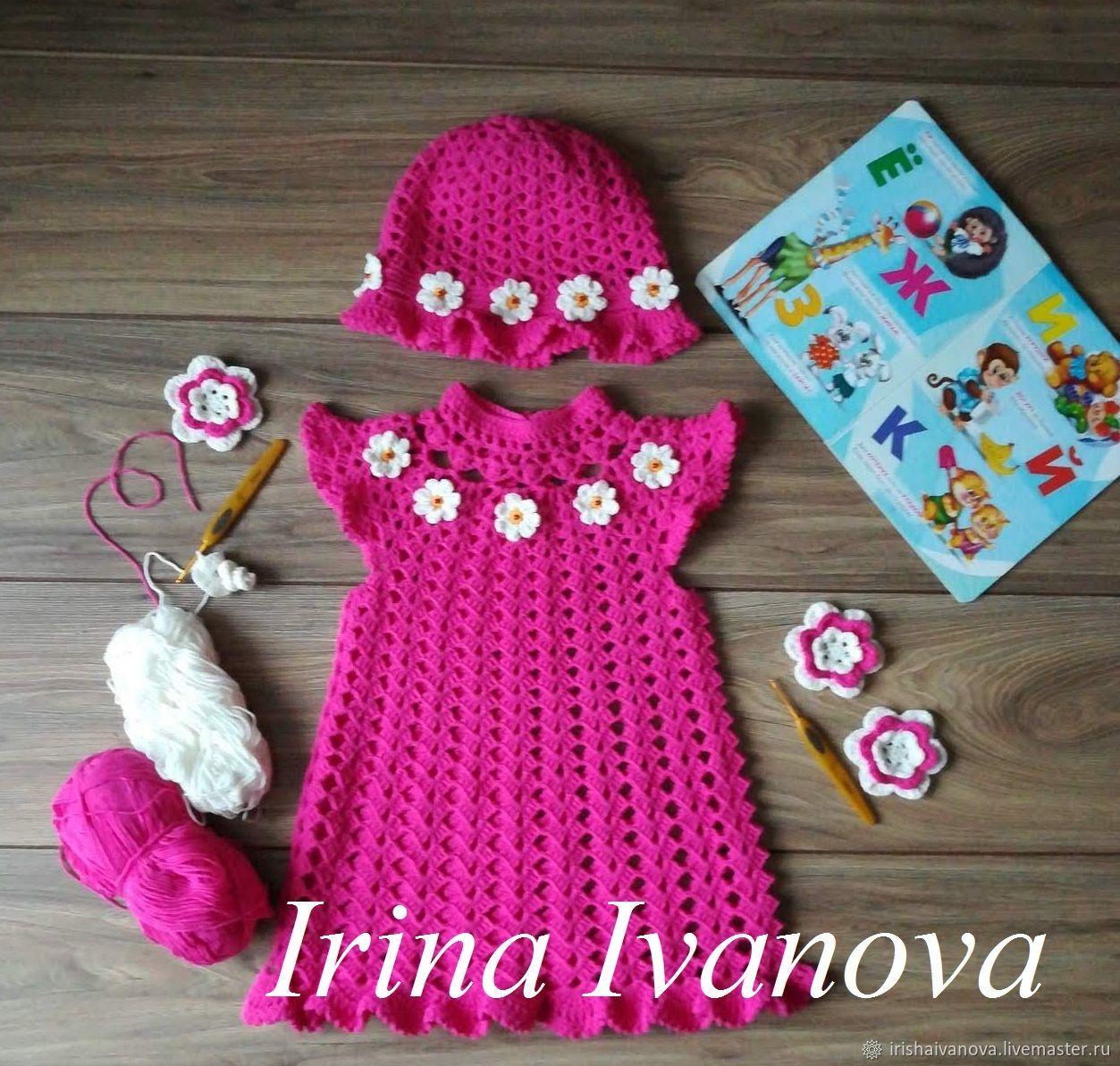 Комплект: Вязаное летнее платье и шапочка для девочки 1 год крючком, Комплекты одежды, Полоцк, Фото №1