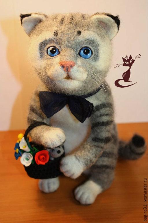Игрушки животные, ручной работы. Ярмарка Мастеров - ручная работа. Купить Валяный котик Базиль. Handmade. Валяный котик