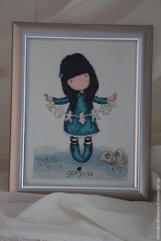 Люди, ручной работы. Ярмарка Мастеров - ручная работа. Купить Девочка с гирляндой. Handmade. Девочка, синий, подарок, рождество, крестиком
