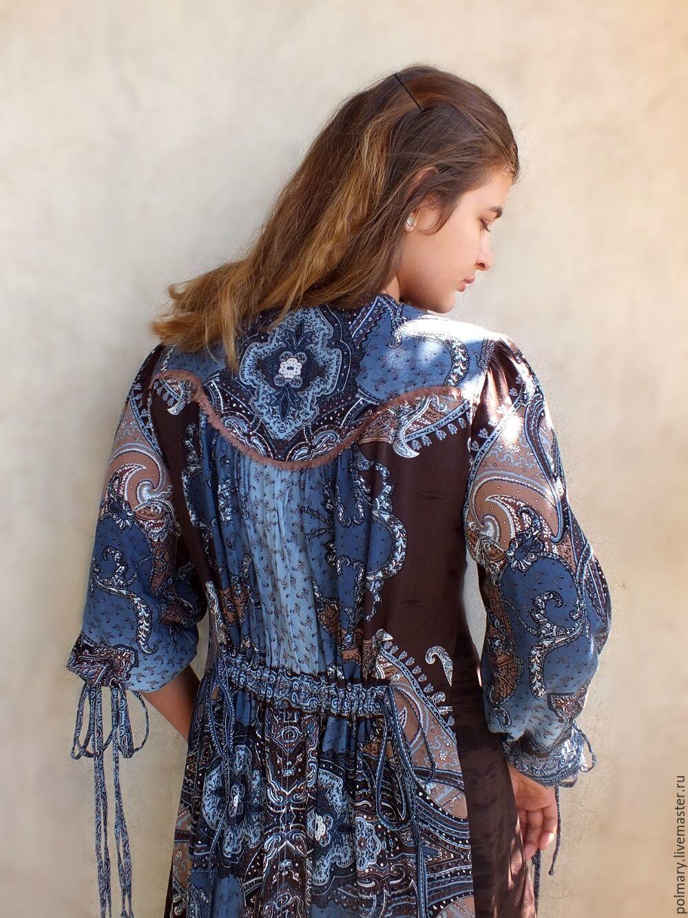 0e92c627771 Dresses handmade. Order Boho dress-chocolate-blue  butterfly Wings .