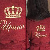Одежда ручной работы. Ярмарка Мастеров - ручная работа Женский махровый халат с именной вышивкой. Handmade.