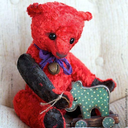 Мишки Тедди ручной работы. Ярмарка Мастеров - ручная работа. Купить Тедди мишка Red One. Handmade. Ярко-красный