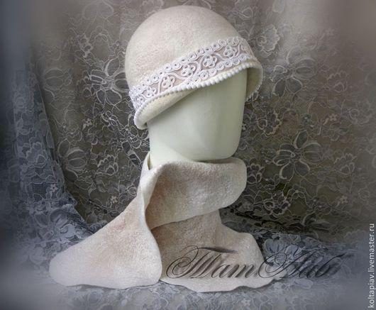 """Шапки ручной работы. Ярмарка Мастеров - ручная работа. Купить Валяный комплект. Шляпка-клош и шарфик """" Элеганс"""". Handmade."""