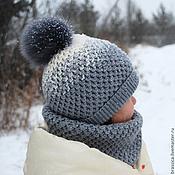 Работы для детей, ручной работы. Ярмарка Мастеров - ручная работа Комплект вязаная шапочка + снуд  серый. Handmade.