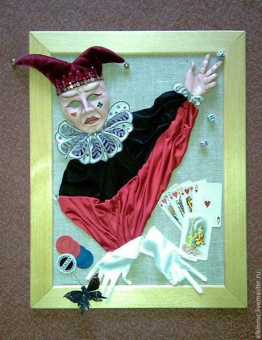 """Фантазийные сюжеты ручной работы. Ярмарка Мастеров - ручная работа. Купить Оригинальное авторское панно ручной работы """"Джокер"""". Handmade."""