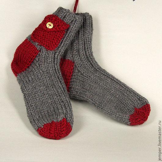 Носки, Чулки ручной работы. Ярмарка Мастеров - ручная работа. Купить носки с кармашком. Handmade. Серый, однотонный
