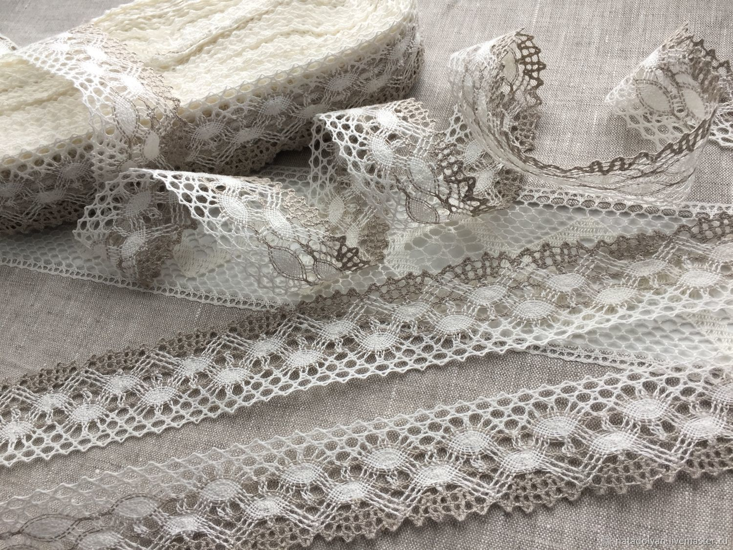 Lace linen two-color 'Ovals, gray-white' TIME. NO, Lace, Ivanovo,  Фото №1