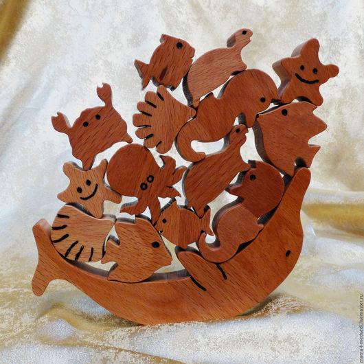 """Развивающие игрушки ручной работы. Ярмарка Мастеров - ручная работа. Купить Балансир из бука """"Подводный мир"""". Handmade. Деревянная игрушка"""