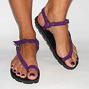 Slingbacks handmade. Livemaster - original item sandals with suede and violet.. Handmade.