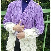 Одежда ручной работы. Ярмарка Мастеров - ручная работа Кардиган с градиентом и объемными косами. Handmade.