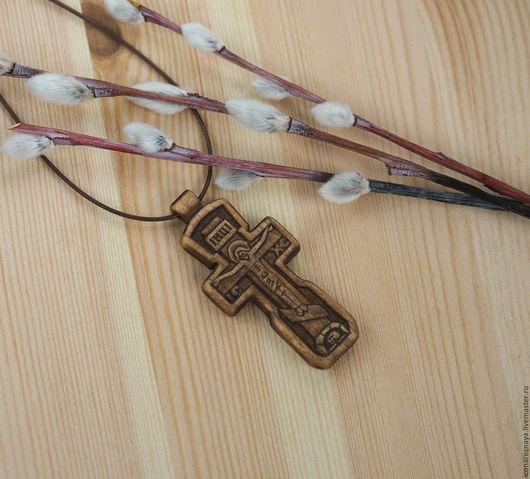 `Вязьма` - деревянный нательный крест-распятие. Крест деревянный. Крест из дерева. Пасха.