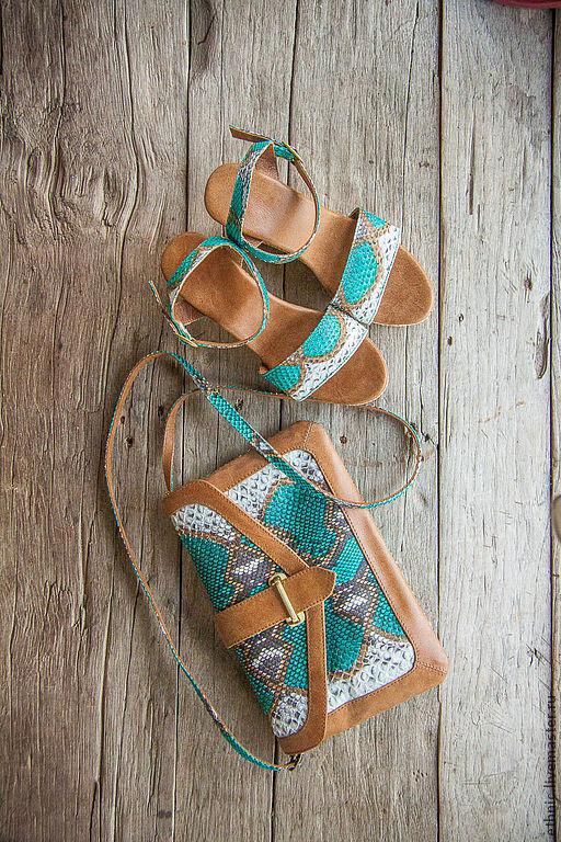 Обувь ручной работы. Ярмарка Мастеров - ручная работа. Купить Босоножки из натуральной кожи питона Odri (mono strap). Handmade.