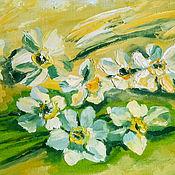 Картины и панно handmade. Livemaster - original item Painting the First daffodils, oil, palette knife, framed. Handmade.