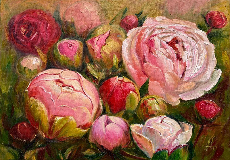 Картина цветы пионы в бутонах, масло, холст 35х25 см, Картины, Санкт-Петербург,  Фото №1