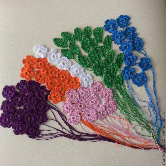 Аппликации, вставки, отделка ручной работы. Ярмарка Мастеров - ручная работа. Купить Маленькие цветочки и листочки для скрапбукинга И декорирования одежды. Handmade.