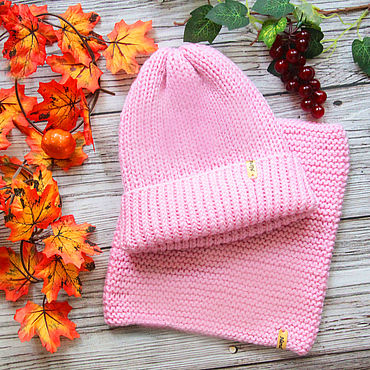 Works for children handmade. Livemaster - original item Knitted Accessories Set Hat and Cowl