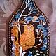 Доска для кухни `Филя`. Лаковая миниатюра, роспись акриловыми красками по дереву.