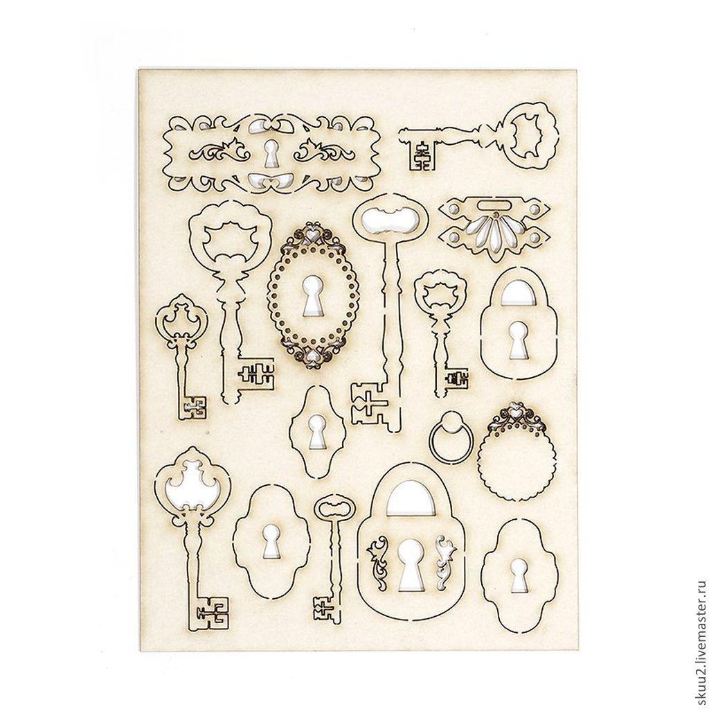 ручной работы. Ярмарка Мастеров - ручная работа. Купить 6 вариантов чипборд. Handmade. Винтаж, замки, чипборд замки ключи