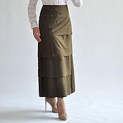 Одежда ручной работы. Ярмарка Мастеров - ручная работа Юбка хаки длинная. Handmade.