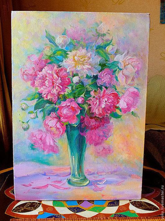 """Картины цветов ручной работы. Ярмарка Мастеров - ручная работа. Купить """"Великолепие пионов"""" картина маслом. Handmade. Розовый"""
