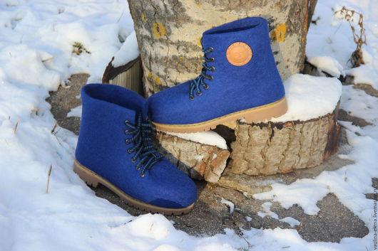 """Обувь ручной работы. Ярмарка Мастеров - ручная работа. Купить Валяные мужские ботинки """"Король Лир"""". Handmade. Синий, Валяние"""