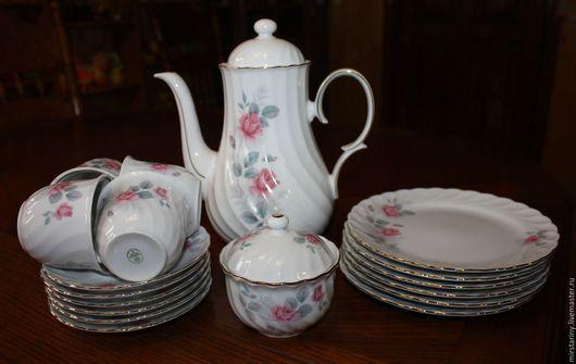 Винтажная посуда. Ярмарка Мастеров - ручная работа. Купить Красивый чайный сервиз на 4 персоны, украшен розами, Германия. Handmade.