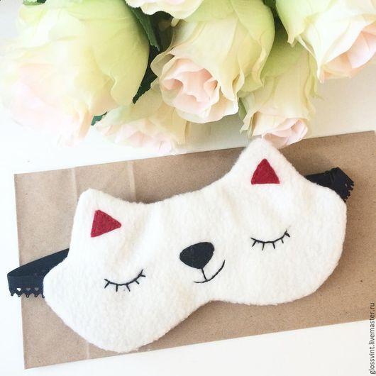 """Белье ручной работы. Ярмарка Мастеров - ручная работа. Купить Маска для сна """"Кошка"""". Handmade. Белый, однотонный, кошка"""