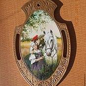 Картины и панно ручной работы. Ярмарка Мастеров - ручная работа резное ,расписное, деревянное панно. Handmade.