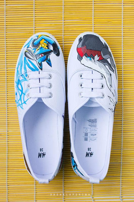 Обувь ручной работы. Ярмарка Мастеров - ручная работа. Купить Кеды с росписью Покемоны. Handmade. Комбинированный, кеды с рисунком