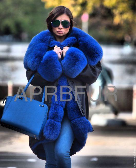 Верхняя одежда ручной работы. Ярмарка Мастеров - ручная работа. Купить Парка чёрная плащовка Песец полностью цвет electric blue. Handmade.