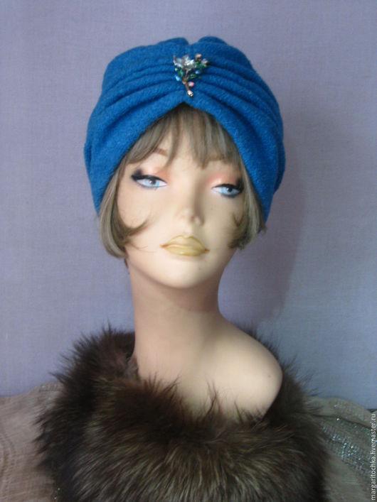 """Шапки ручной работы. Ярмарка Мастеров - ручная работа. Купить Чалма """"Аида"""" шерсть теплая. Handmade. Голубой, шапка голубая"""