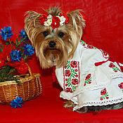 Для домашних животных, ручной работы. Ярмарка Мастеров - ручная работа Вышиванка для маленьких собачек  Розы. Handmade.
