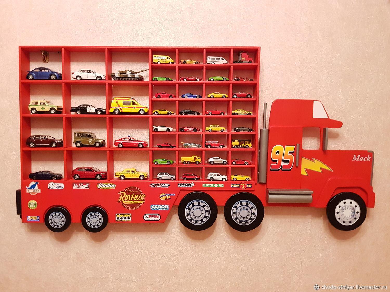 """Полка-грузовик """"MACK"""" для машинок 44 разных ячеек, Полки, Москва,  Фото №1"""
