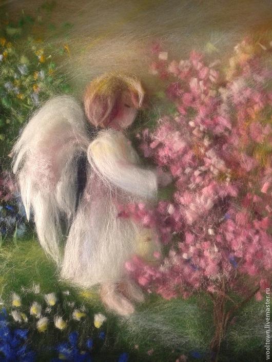"""Люди, ручной работы. Ярмарка Мастеров - ручная работа. Купить Картина из шерсти """"Ангел"""". Handmade. Картина, картина из шерсти"""