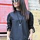 R00011 Стильная рубашка свободная туника черная блузка сексуальная рубашка Экстравагантная одежда Рубашка черная свободная летняя рубашка летняя блузка