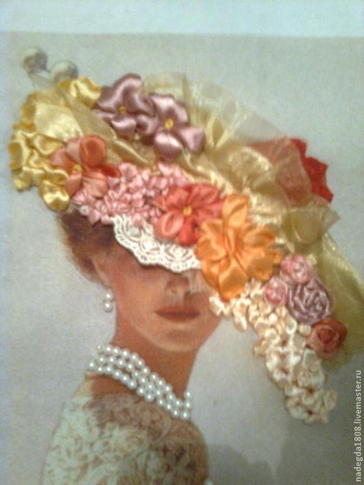 Люди, ручной работы. Ярмарка Мастеров - ручная работа. Купить Картина вышитая лентами Дама в шляпе. Handmade. Подарок