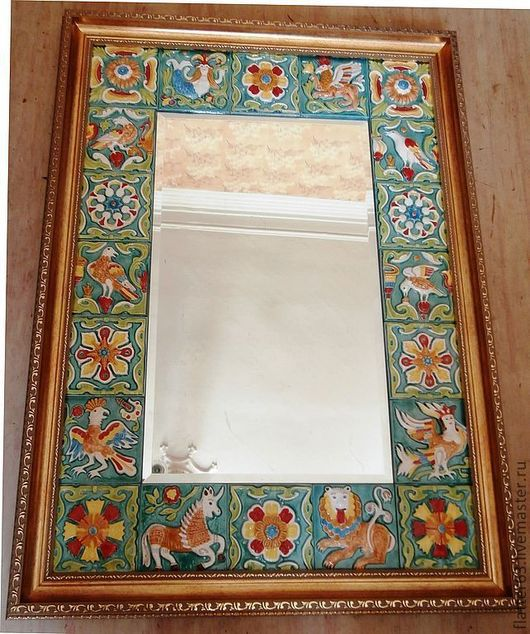 """Зеркала ручной работы. Ярмарка Мастеров - ручная работа. Купить зеркало с изразцами """"Изумрудное"""". Handmade. Украшение интерьера, эксклюзивный подарок"""