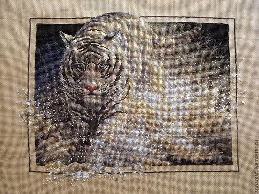 Животные ручной работы. Ярмарка Мастеров - ручная работа. Купить Вышивка крестом Белый тигр (White Lightning). Handmade.