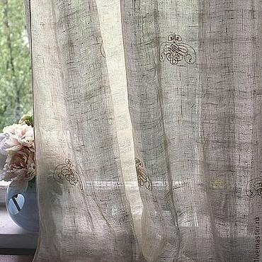 Для дома и интерьера ручной работы. Ярмарка Мастеров - ручная работа Шторы льняные с кружевом и вышивкой. Handmade.