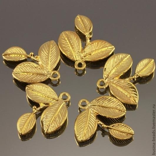 Металлические подвески в форме веточки с тремя листиками из сплава с покрытием под золото комплектом из пяти штук для использования в сборке украшений