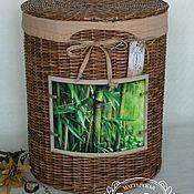 Для дома и интерьера ручной работы. Ярмарка Мастеров - ручная работа Интерьерная плетеная корзина короб из бумажной лозы. Handmade.