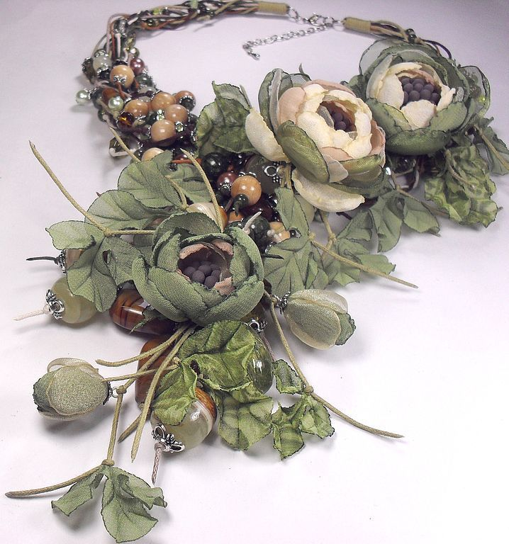 Flowers Of The Forest Fairies. jewelry set. A necklace, three brooches, earrings, Jewelry Sets, St. Petersburg,  Фото №1