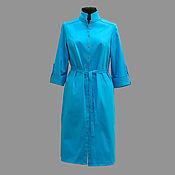 Одежда ручной работы. Ярмарка Мастеров - ручная работа Платье-рубашка модель 12-89 из плотной ткани хлопок-сатин.. Handmade.