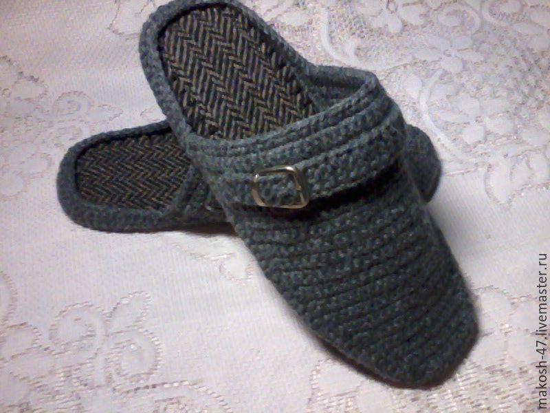 Home men's Slippers - flip flops ( grey ), Slippers, Vyazniki,  Фото №1