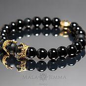 Украшения handmade. Livemaster - original item Stylish black Onyx bracelet with crowns. Handmade.