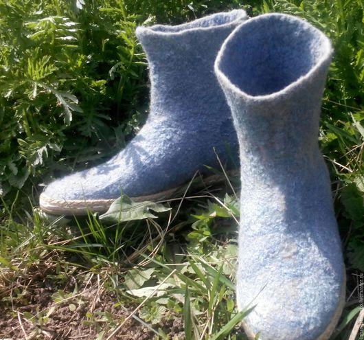 """Обувь ручной работы. Ярмарка Мастеров - ручная работа. Купить Валяные сапожки """"Лето"""". Handmade. Серый, летние сапожки, вискоза"""