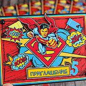"""Открытки ручной работы. Ярмарка Мастеров - ручная работа Приглашение """"Superman"""". Handmade."""