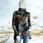 """Одежда ручной работы. Ярмарка Мастеров - ручная работа Туника из джерси """"Осень в городе"""". Handmade."""