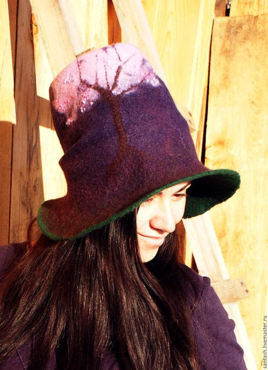 Шляпы ручной работы. Ярмарка Мастеров - ручная работа. Купить Шляпа с цветущим деревом. Handmade. Тёмно-фиолетовый, с высокой тульей